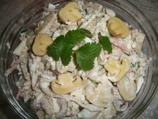 Рецепт. Салат с шампиньонами