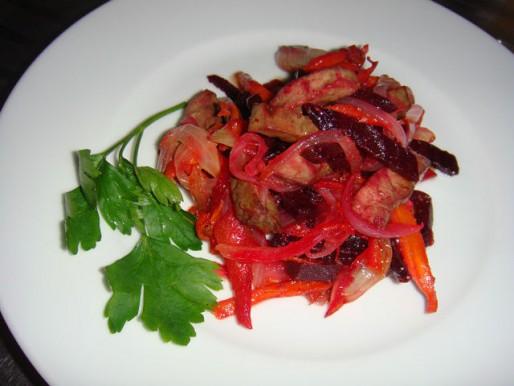 Рецепт. Салат из печени