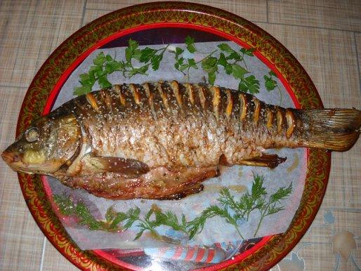 Рецепт. Запеченный карп (рыба в духовке)