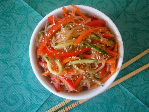 Рецепт. Рисовая лапша (фунчоза) с овощами