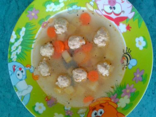 Рецепт. Детский суп с фрикадельками