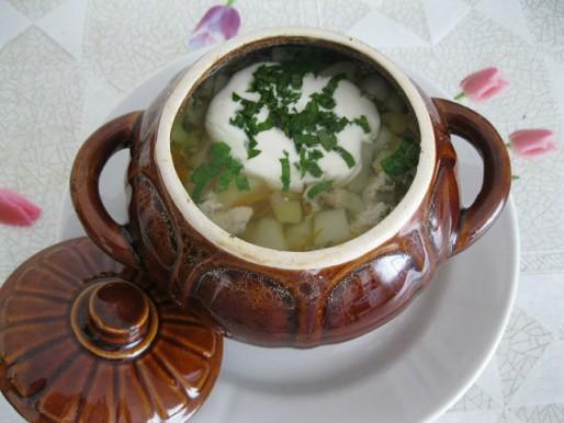 Рецепт. Суп в горшочках
