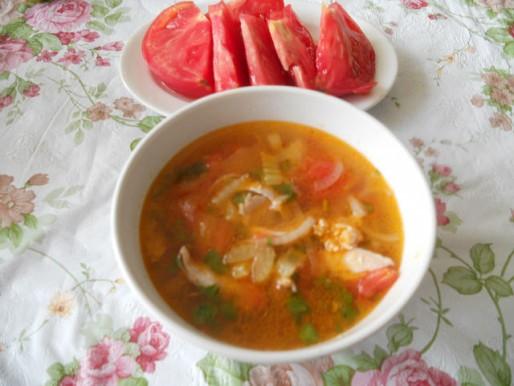 Рецепт. Суп с помидорами
