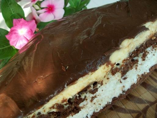 """Рецепт. Торт """"Баунти"""" с шоколадной глазурью"""