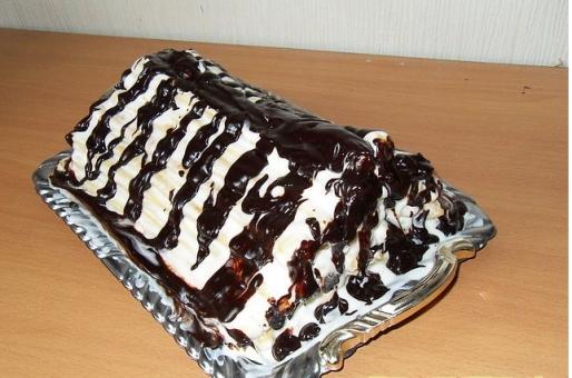 """Рецепт. Торт """"Дамские пальчики"""" со сметанным кремом"""