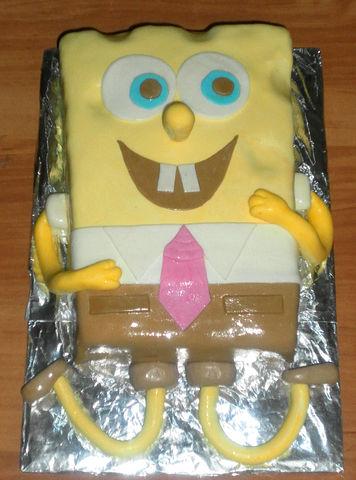 """Рецепт. Торт """"Спанч Боб"""" с украшением из мастики"""