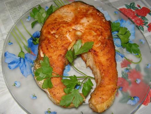 Рецепт. Стейк из семги жаренный на сковородке