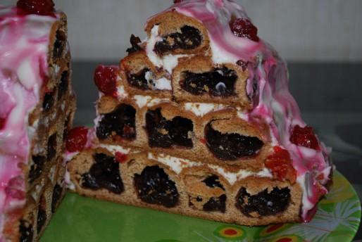 """Рецепт. Торт """"Зимняя вишня"""" с сметанным кремом"""