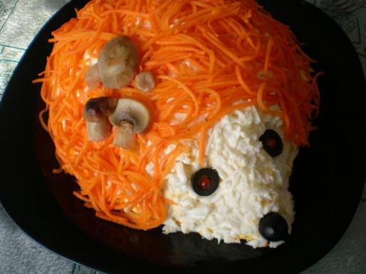 "Рецепт. Салат ""Ёжик"" из корейской моркови"